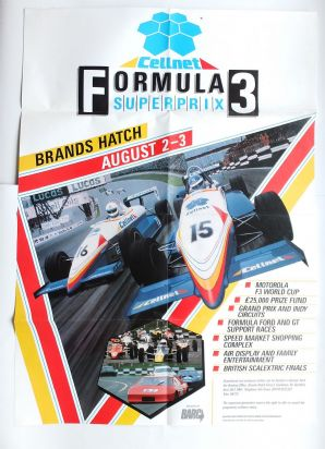 BRANDS HATCH F3 CELLNET SUPERPRIX 1987 original poster.Artwork by A Benjamins